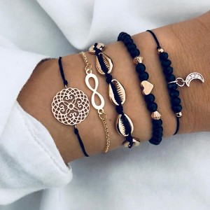 Thread Art Beads Engraved Bracelets Set