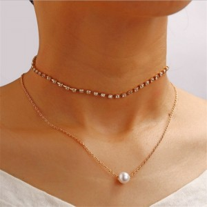Crystal Patched Gold Plated Pearl Chain Necklace