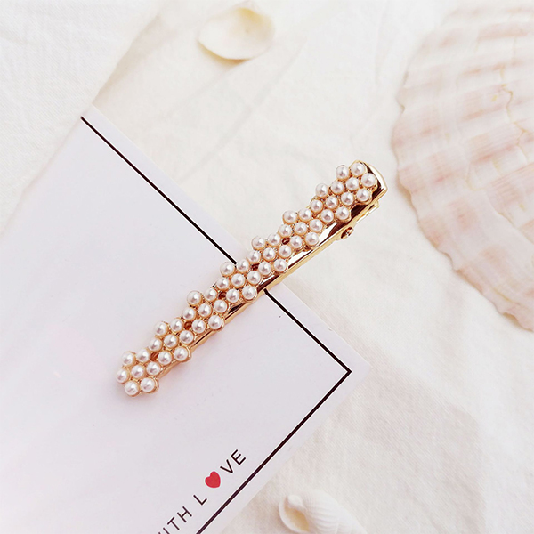 Gold Plated Pearl Patched Hair Clips