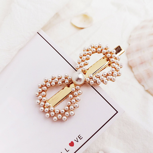Gold Plated Pearl Patched Bow Hair Clips