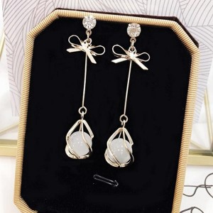 Gold Plated Pearl Ear Beads Decorative Earrings - Golden
