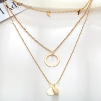 Spiral Coin Gold Plated Three Layered Necklace