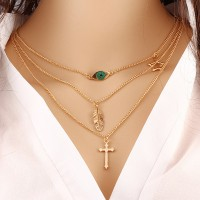 Eye Cross And Leaf Decorated Chain Layered Women Pendant