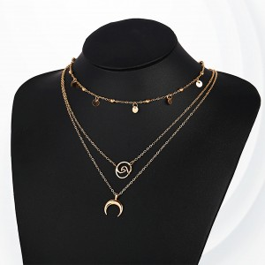 Bohemian Gold Plated Three Layered Necklace