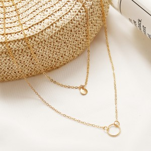 Gold Plated Coin Double Layered Neck Chain Necklace