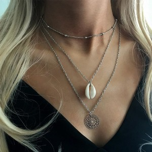 Silver Plated Bohemian Three Layered Chain Necklace