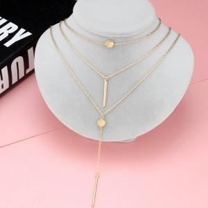 Three Layered Bar Chain Necklace - Golden