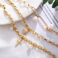 Choker Chain Gold Plated Cross Religious Necklace - Golden