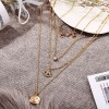 Trio Layered Gold Plated Pendant Necklace - Golden