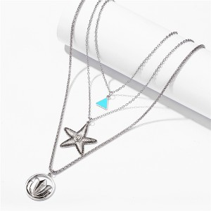 Star Decorative Multi Layered Silver Plated Pendant Necklace