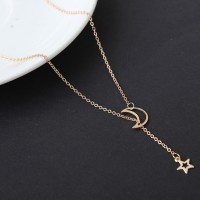 Gold Plated Moon Stars Chain Pendant Necklace