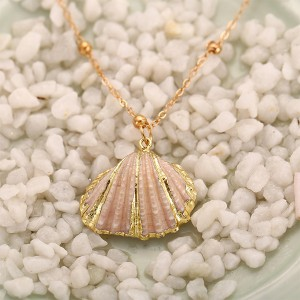 Scallop Shell Pendant Bohemian Long Chain Statement Necklace