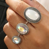 Three Pieces Rhinestones Silver Plated Rings Set