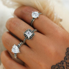 Crystal Patched Three Pieces Rings Set
