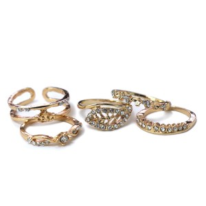 Crystal Decorated Gold Plated Fives Pieces Rings