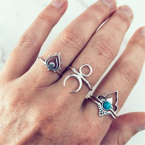 Silver Plated Four Pieces Bohemian Rings Set