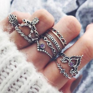 Nine Pieces Carved Boho Silver Plated Rings