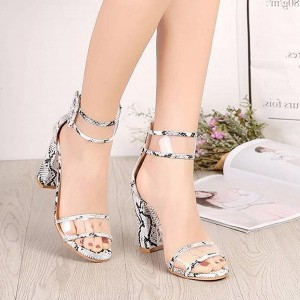 High Heels Strapped Up Buckle Sandals - White