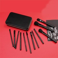 12 Pieces Long Rod Handheld Elegant Makeup Brushes - Black