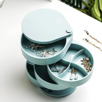Rotating Storage Box Multi-layers Jewellery Organizer - Blue