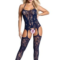 Thread Art Hollow Floral Stretchable Body Stockings - Dark Blue