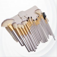 Twenty Four Pieces Golden Wooden Handle Fancy  Brushes - White