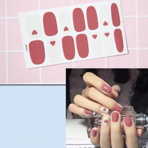 Contrast Duo Colors Fashion Nail Stickers - Hearts