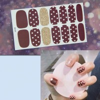 Polka Prints Multicolor Contrast Nail Stickers - Brown