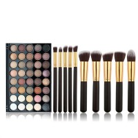 40 Eye-shadow Colors 10 Makeup Foundation Brushes Set