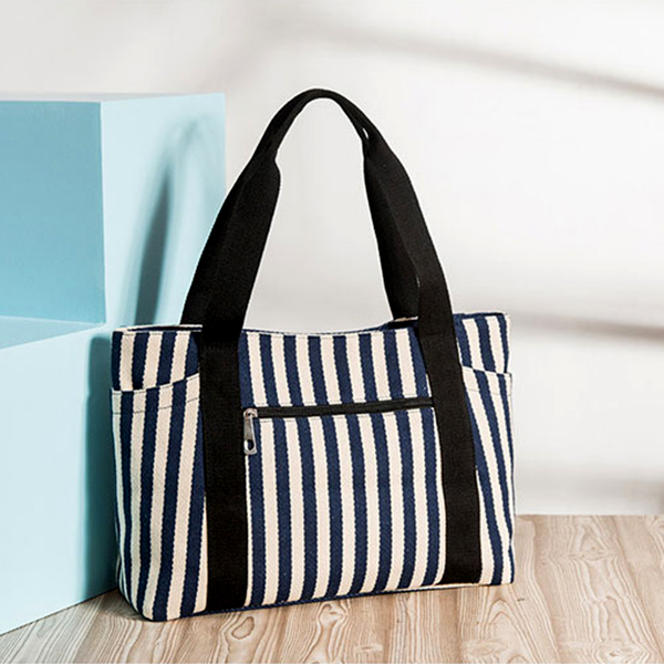 Striped Prints Large Space Casual Shoulder Bags - Blue