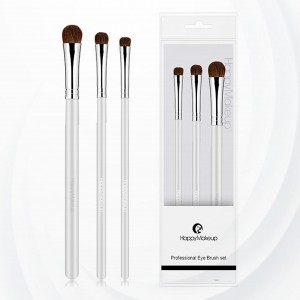 Three Piece Wooden Handle Fancy Make Brushes - White