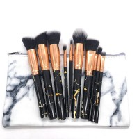 Marble Textured Makeup Ten Pieces Brushes Set - Black