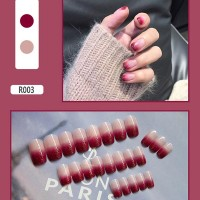 Gradient Contrast Easy Adhesive Nails - Burgundy