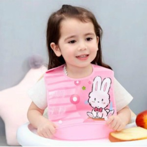 Waterproof Baby Bib With Rice Pocket - Pink