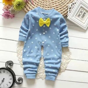 Star Print Long Sleeve Baby Romper - Sky Blue