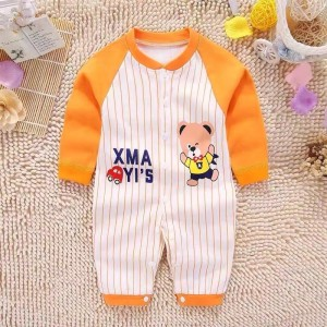 Long Sleeve Cartoon Striped Jumpsuit - Orange