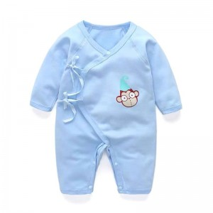 Baby Pure Color Cotton Romper - Sky Blue