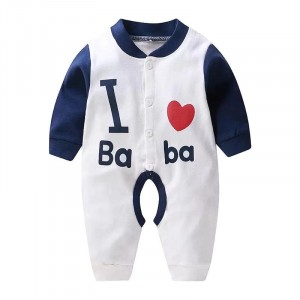 Long Sleeve Cute Baby Cotton Jumpsuit - Dark Blue