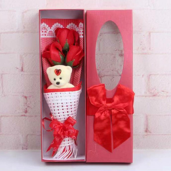 Rose Bouquet Valentine Christmas Surprise Gift Box-Red