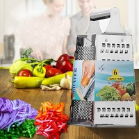 Stainless Steel 6 Sided Vegetable Grater And Slicer - Silver