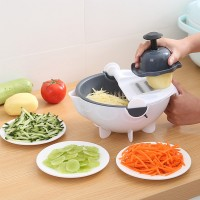 Multi Functional Rotate Vegetable Cutter Slicer With Drain Basket - Gray