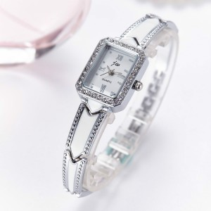 Women's Square Dial Fashion Chain Watch - Silver