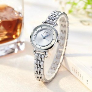 Ladies Steel Band Chain Electronic Quartz Watch - Silver