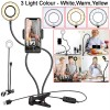 Cell Phone Holder with LED Flash Light for Live Stream - Black