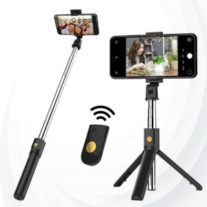 Selfie Stick With  Bluetooth Remote - Black