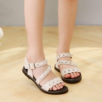 Girls Beach Shoes Open Studs Roman Sandals - Beige