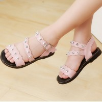 Girls Beach Shoes Open Studs Roman Sandals - Light Pink