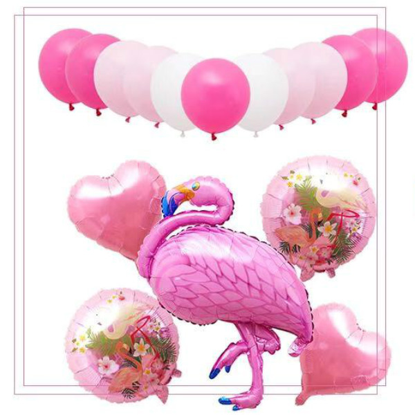 16Pcs Flamingo Heart Style Inflatable Air Balloons Set - Pink