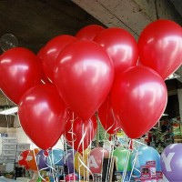 100 Pcs Round Pearly Party Balloons - Red