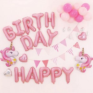 40 Pcs Unicorn Happy Birthday Party Balloons Set - Pink